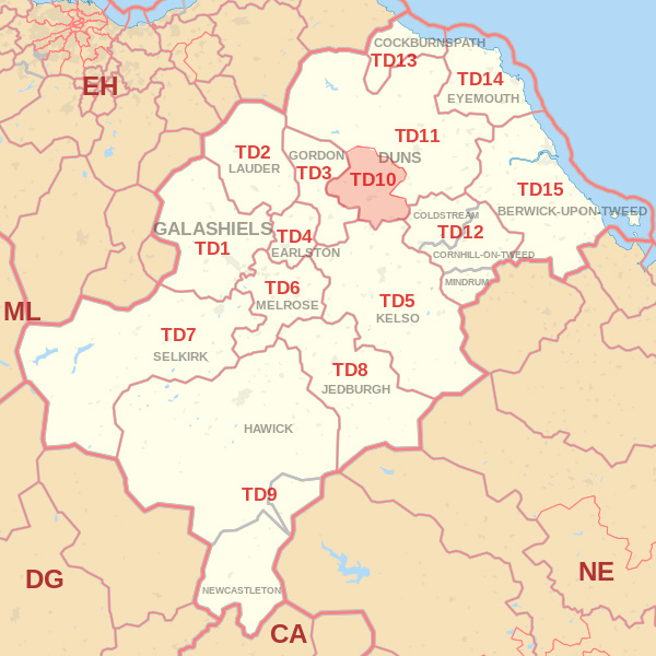 Map showing the TD10 Postcode area Covered By Galashiels skip Hire