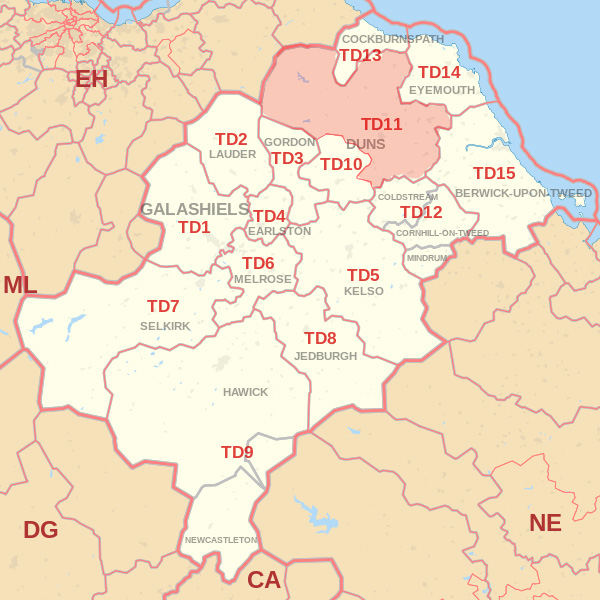 Map showing the TD11 Postcode area Covered By Galashiels skip Hire