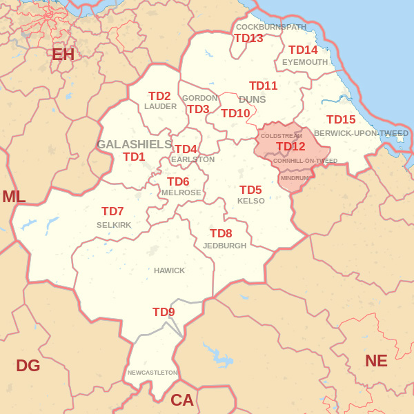 Map showing the TD12 Postcode area Covered By Galashiels skip Hire