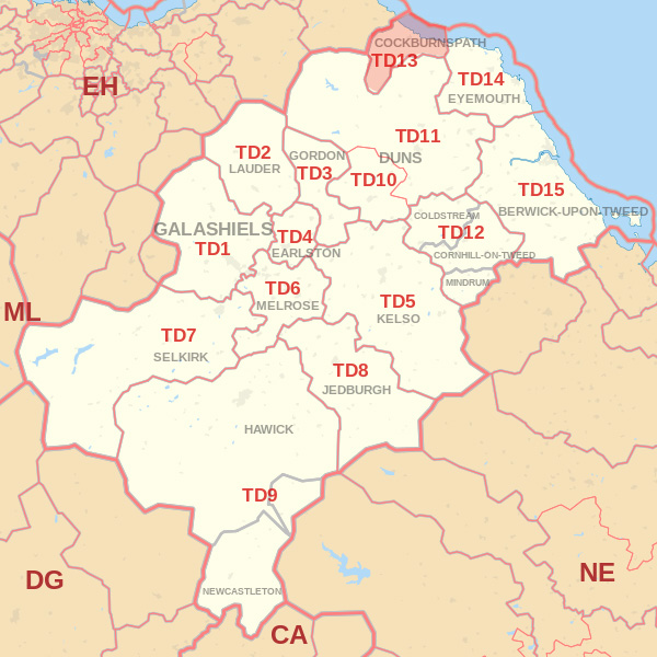 Map showing the TD13 Postcode area Covered By Galashiels skip Hire