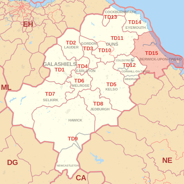 Map showing the TD15 Postcode Area Galashiels skip Hire