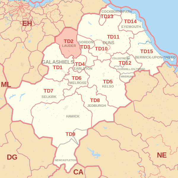 Map showing the TD2 Postcode area Covered By Galashiels skip Hire