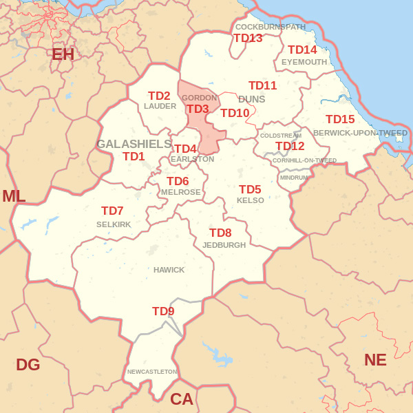 Map showing the TD3 Postcode area Covered By Galashiels skip Hire