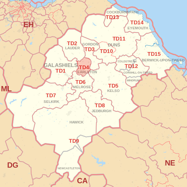 Map showing the TD4 Postcode area Cpvered By Galashiels skip Hire