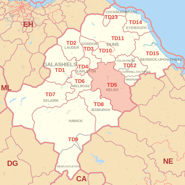 Map showing the TD5 Postcode area Covered By Galashiels skip Hire