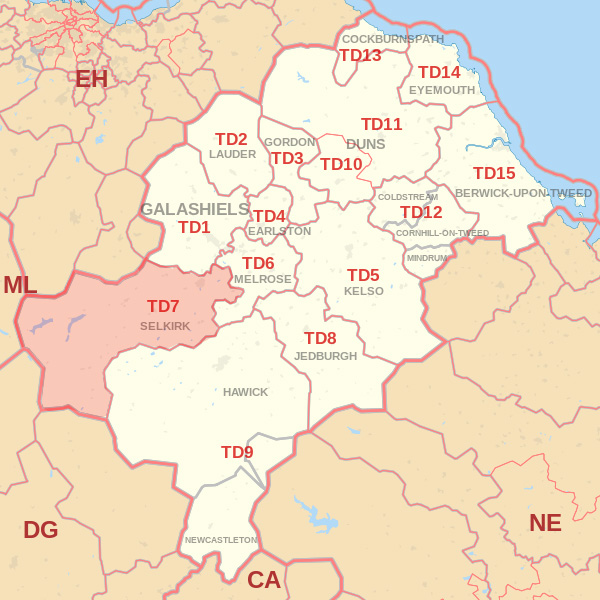 Map showing the TD7 Postcode area Covered By Galashiels skip Hire