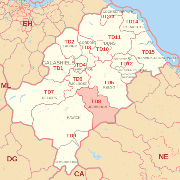 Map showing the TD8 Postcode area Covered By Galashiels skip Hire
