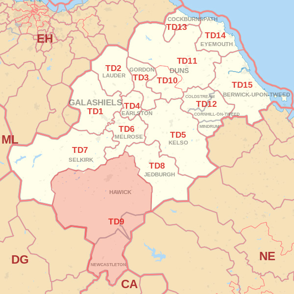 Map showing the TD9 Postcode area Covered By Galashiels skip Hire